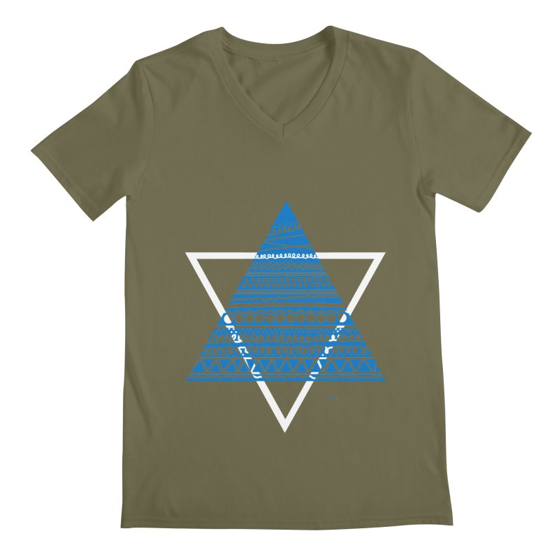 Pyramid blue Men's V-Neck by DERG's Artist Shop