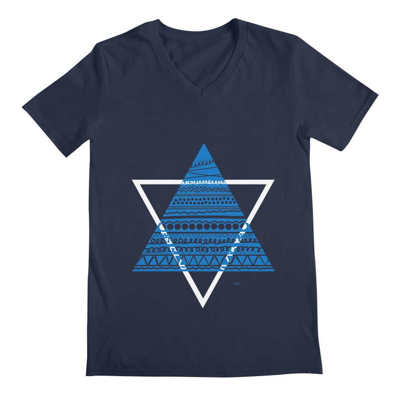 Pyramid blue Men's V-Neck by DERG's Artist Shop
