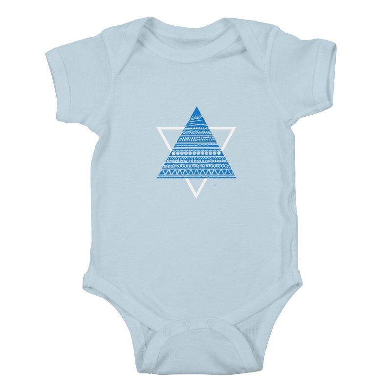 Pyramid blue Kids Baby Bodysuit by DERG's Artist Shop