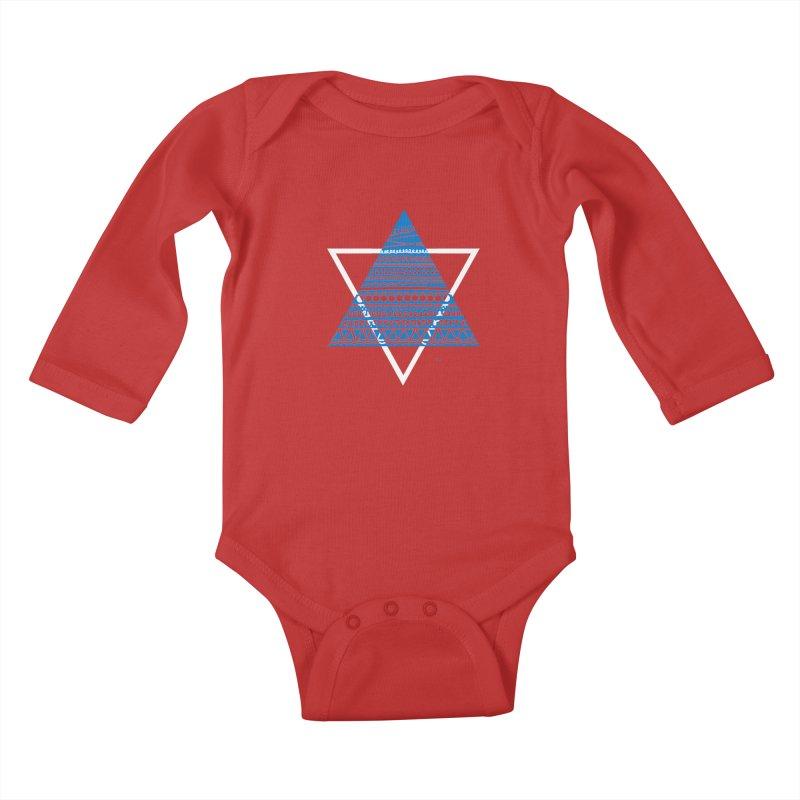 Pyramid blue Kids Baby Longsleeve Bodysuit by DERG's Artist Shop