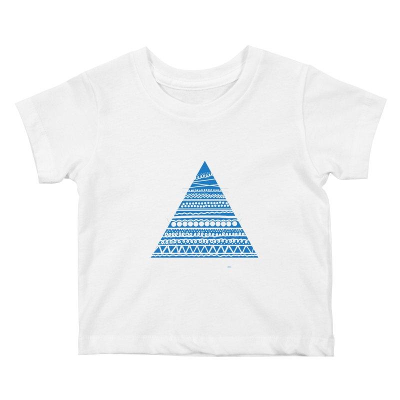 Pyramid blue Kids Baby T-Shirt by DERG's Artist Shop