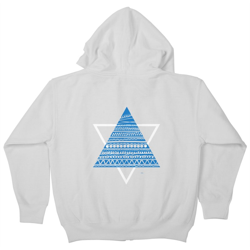 Pyramid blue Kids Zip-Up Hoody by DERG's Artist Shop