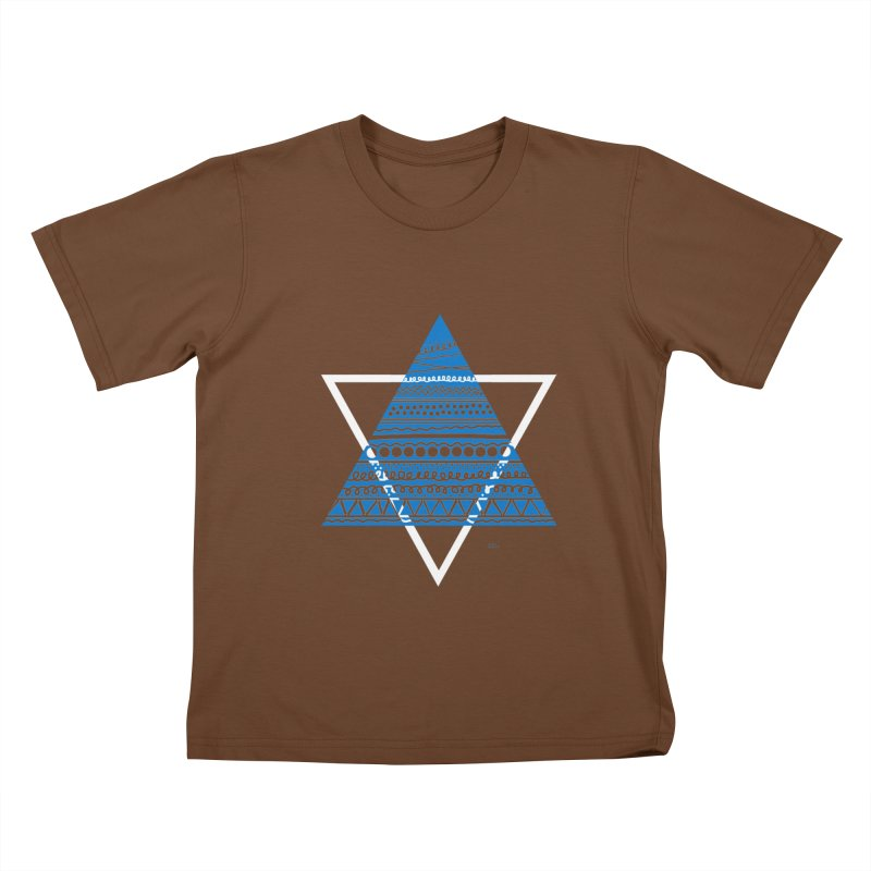 Pyramid blue Kids T-Shirt by DERG's Artist Shop