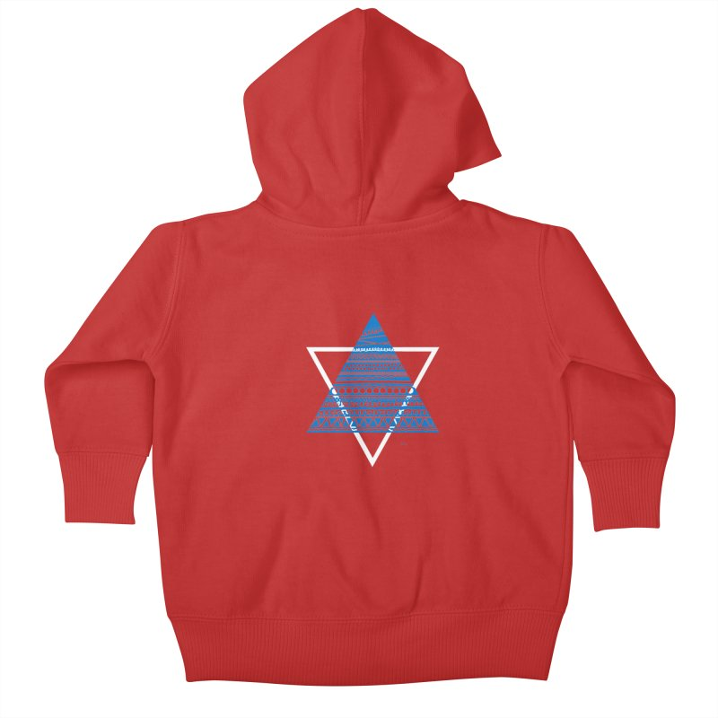 Pyramid blue Kids Baby Zip-Up Hoody by DERG's Artist Shop
