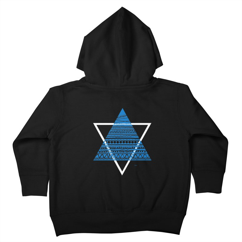 Pyramid blue Kids Toddler Zip-Up Hoody by DERG's Artist Shop