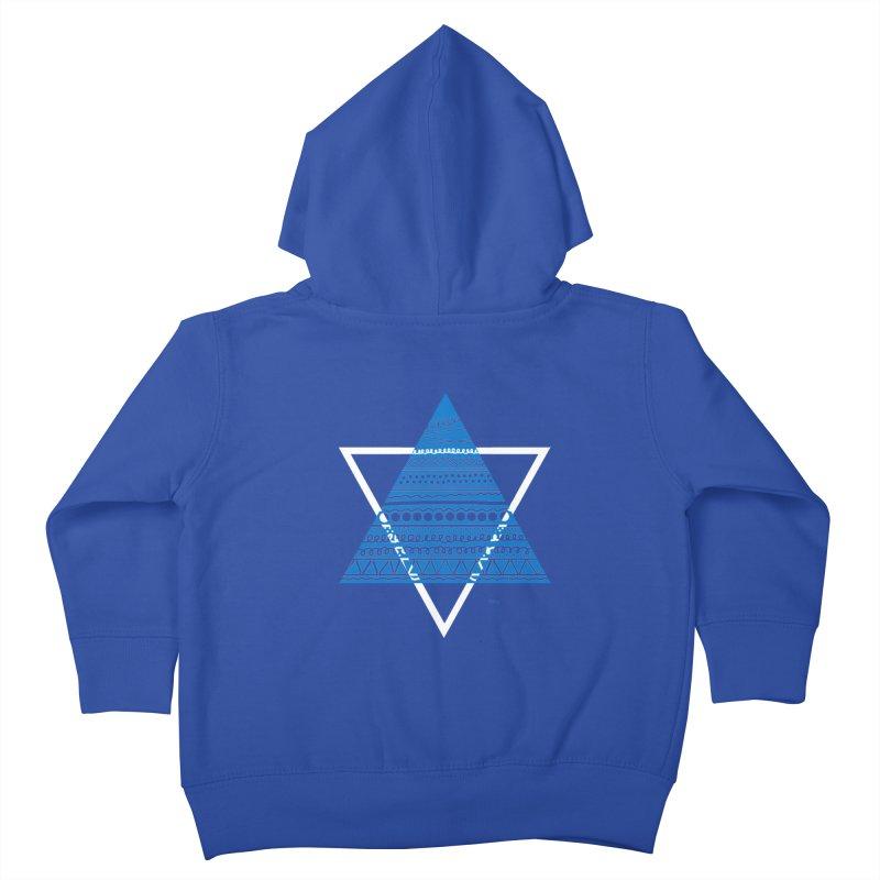 Pyramid blue Kids Toddler Zip-Up Hoody by DERG's Artist Shop
