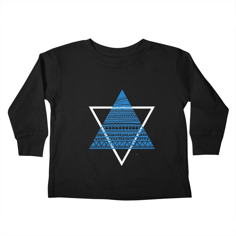 Pyramid blue Kids Toddler Longsleeve T-Shirt by DERG's Artist Shop