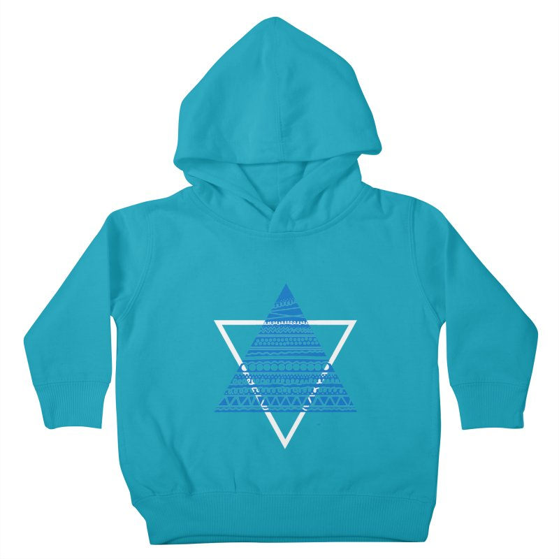 Pyramid blue Kids Toddler Pullover Hoody by DERG's Artist Shop