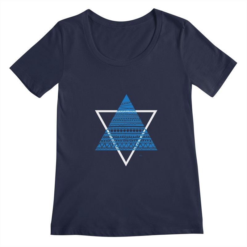 Pyramid blue Women's Scoopneck by DERG's Artist Shop
