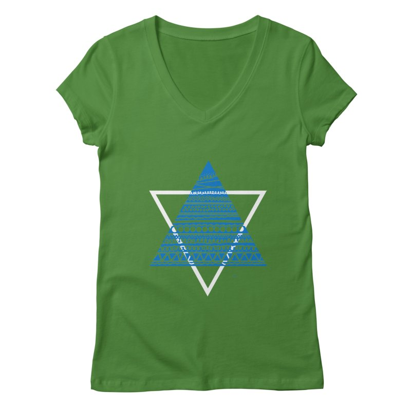 Pyramid blue Women's V-Neck by DERG's Artist Shop