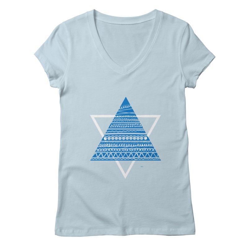 Pyramid blue Women's V-Neck by DERG's Artist Shop