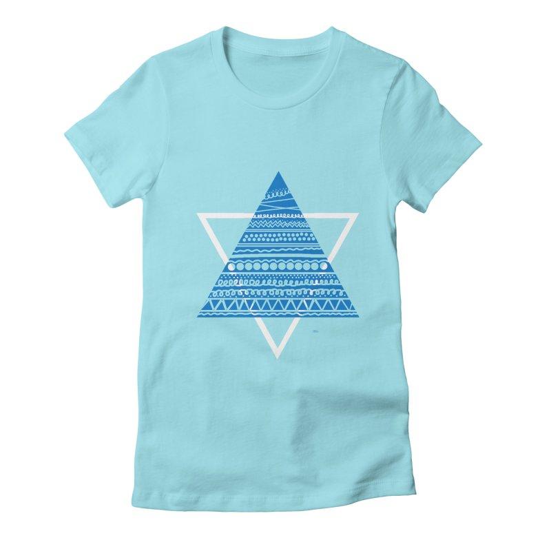 Pyramid blue Women's Fitted T-Shirt by DERG's Artist Shop