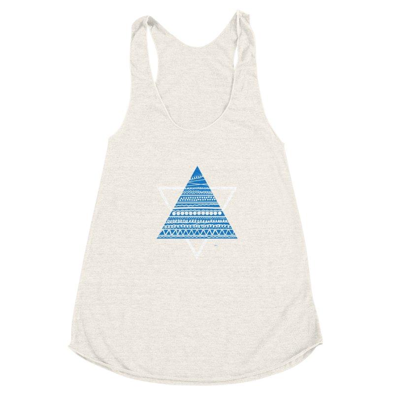 Pyramid blue Women's Racerback Triblend Tank by DERG's Artist Shop