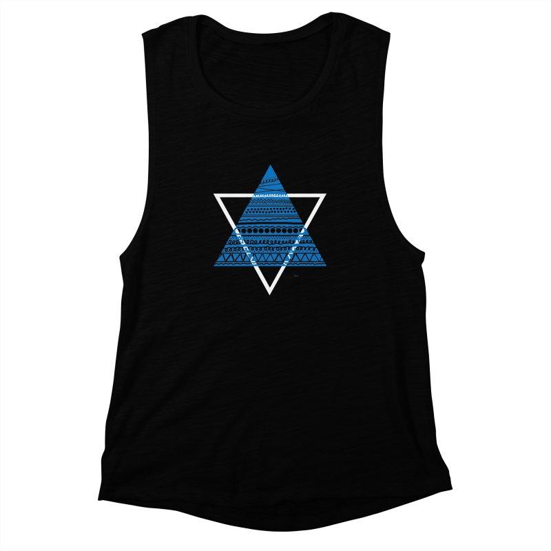 Pyramid blue Women's Muscle Tank by DERG's Artist Shop