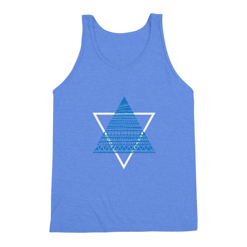 Pyramid blue Men's Triblend Tank by DERG's Artist Shop