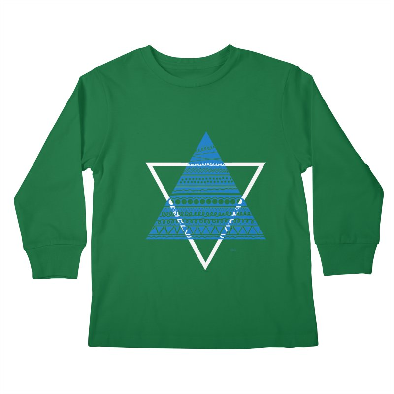 Pyramid blue Kids Longsleeve T-Shirt by DERG's Artist Shop