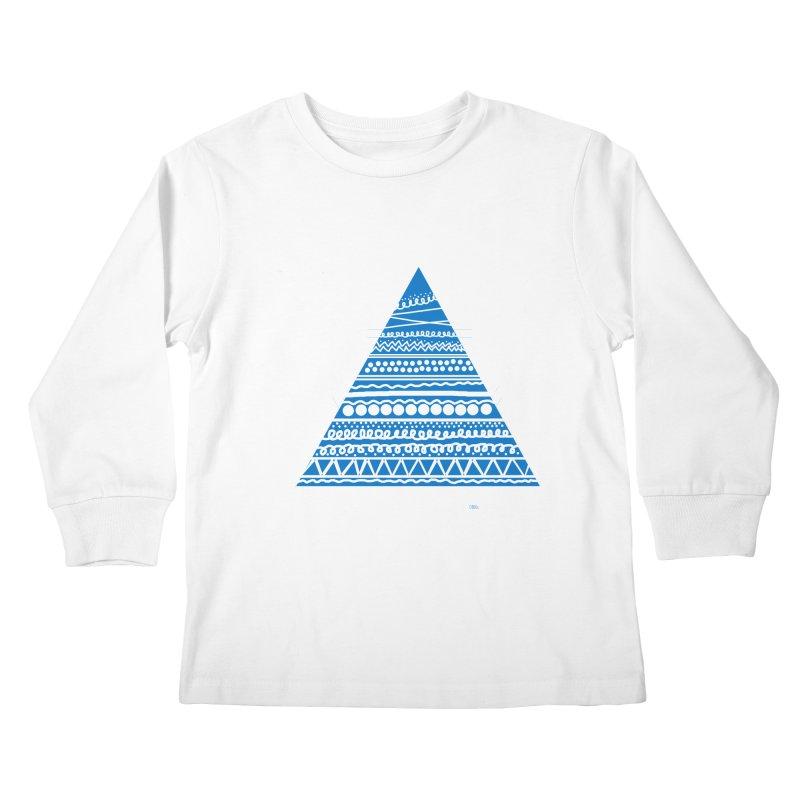 Pyramid blue Kids Longsleeve T-Shirt by DERG's Artist Shop
