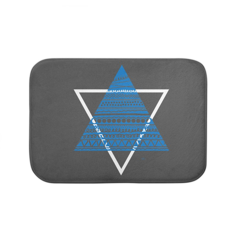 Pyramid blue Home Bath Mat by DERG's Artist Shop