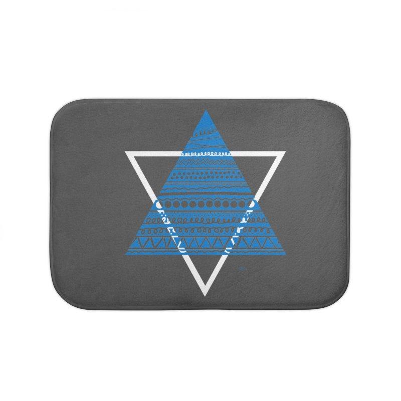 Pyramid blue Home Bath Mat by DERG's Artist Shop