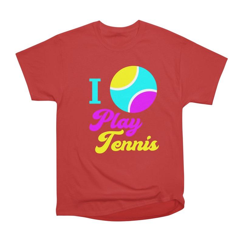 I play tennis Women's Heavyweight Unisex T-Shirt by DERG's Artist Shop