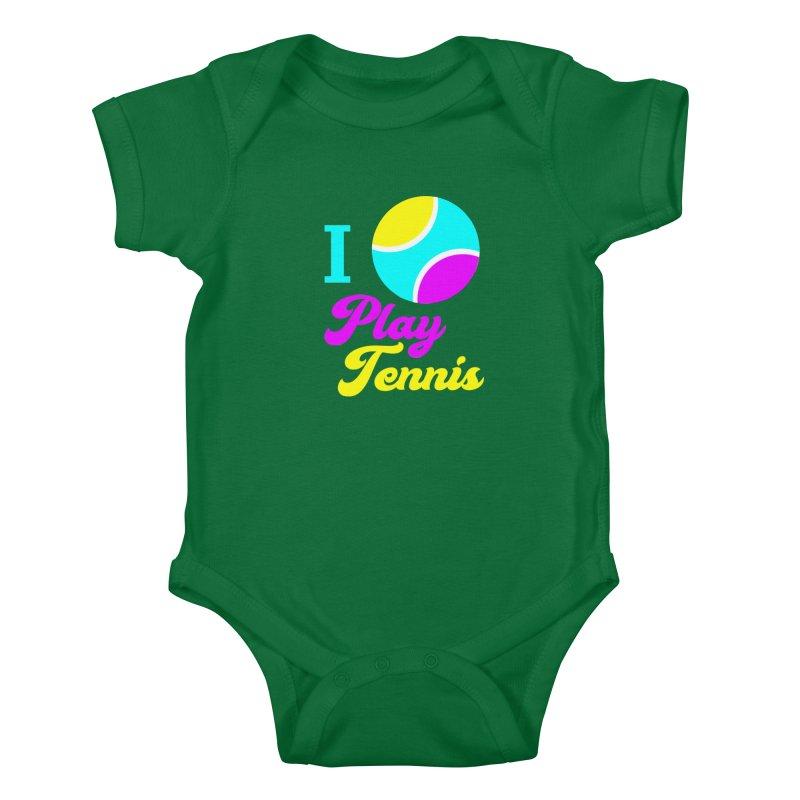 I play tennis Kids Baby Bodysuit by DERG's Artist Shop