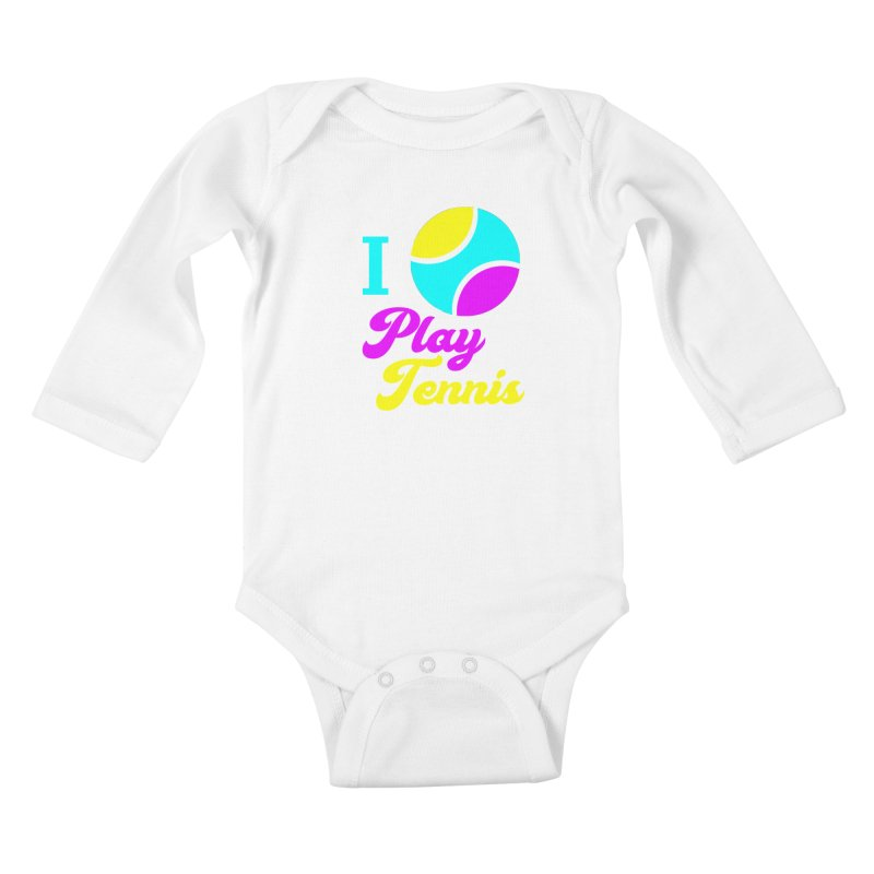 I play tennis Kids Baby Longsleeve Bodysuit by DERG's Artist Shop