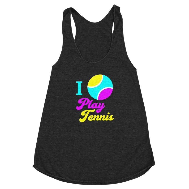 I play tennis Women's Racerback Triblend Tank by DERG's Artist Shop