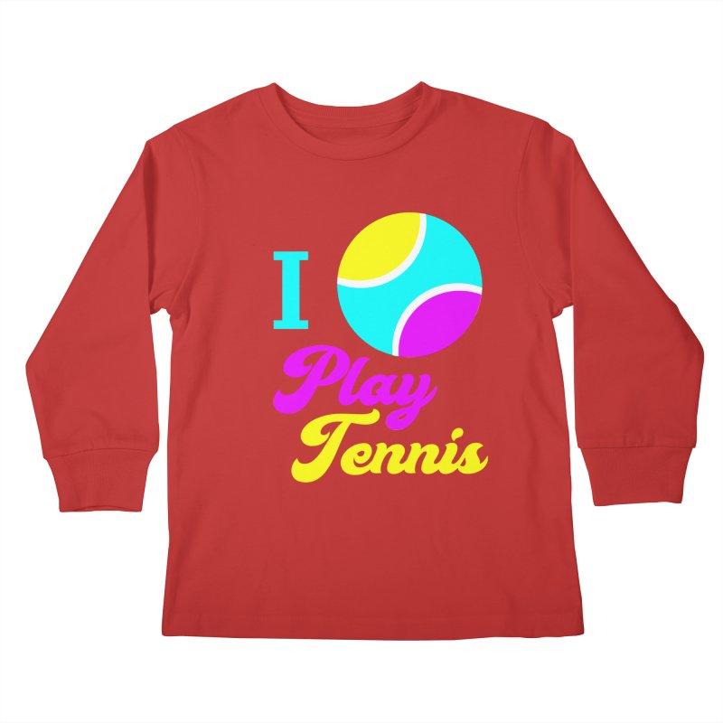 I play tennis Kids Longsleeve T-Shirt by DERG's Artist Shop