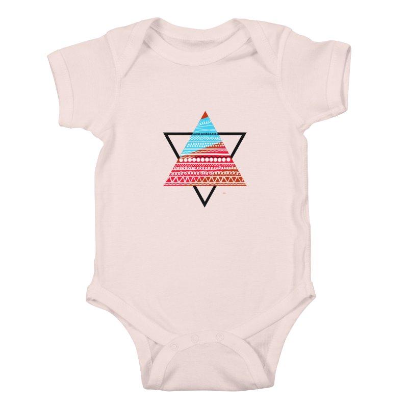 Pyramid3 Kids Baby Bodysuit by DERG's Artist Shop