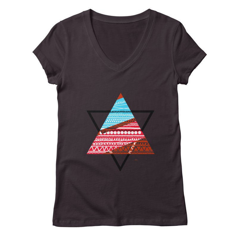Pyramid3 Women's V-Neck by DERG's Artist Shop