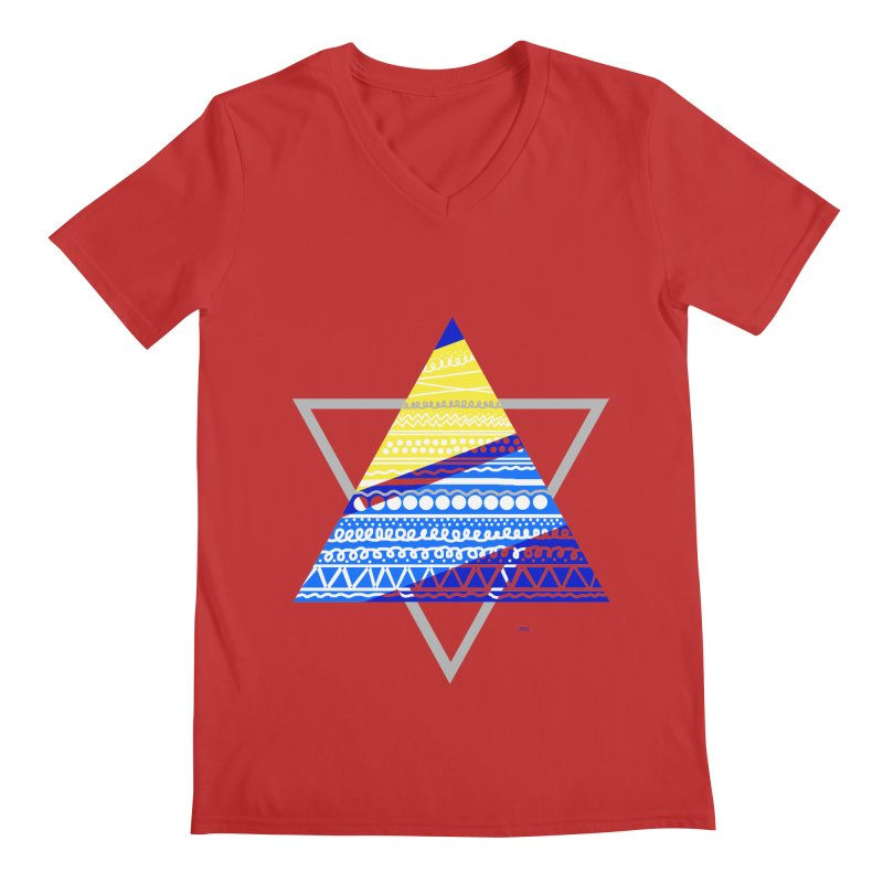 Pyramid gray Men's V-Neck by DERG's Artist Shop