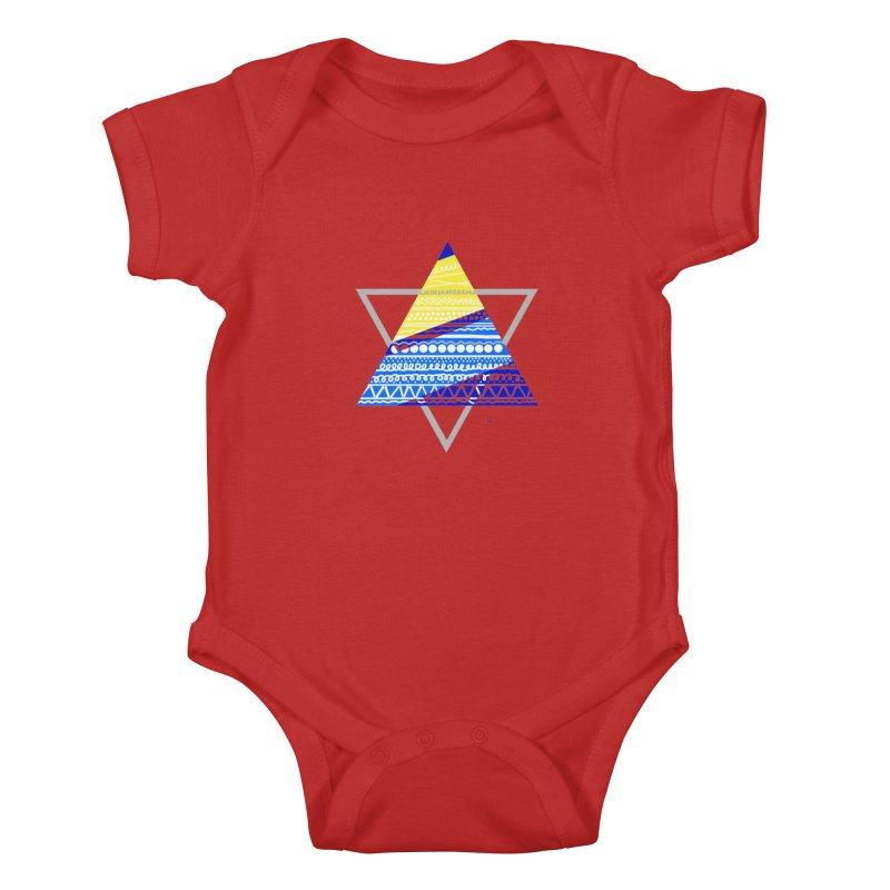 Pyramid gray Kids Baby Bodysuit by DERG's Artist Shop