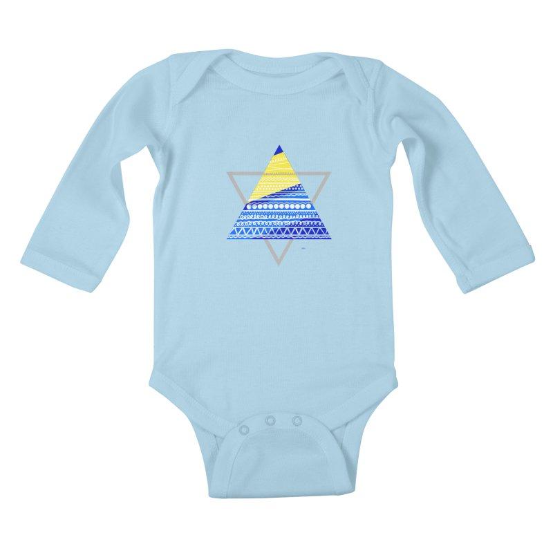 Pyramid gray Kids Baby Longsleeve Bodysuit by DERG's Artist Shop