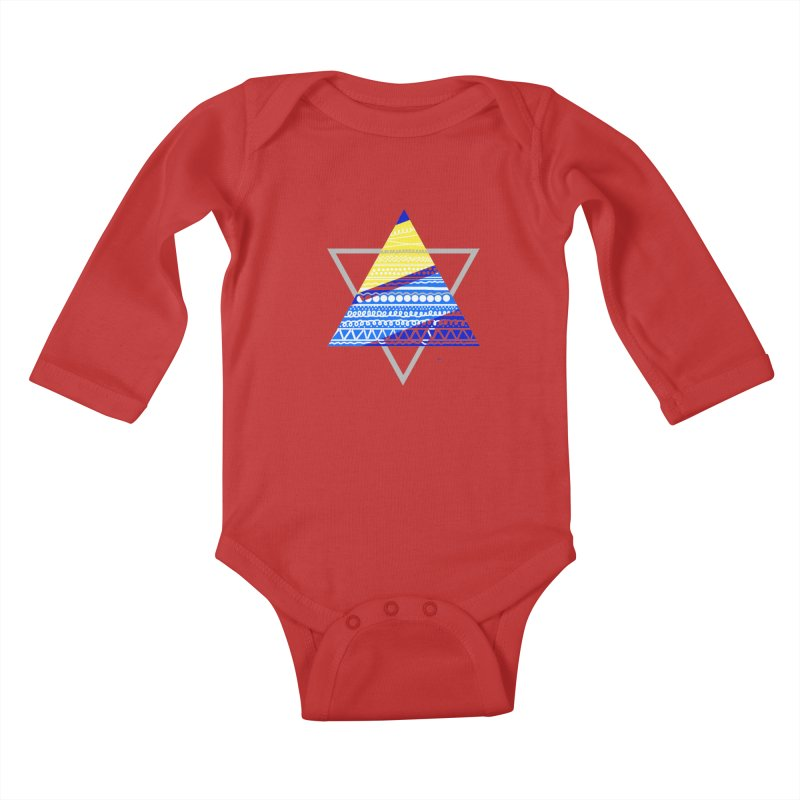 Pyramid gray Kids Baby Longsleeve Bodysuit by DERG's Artist Shop