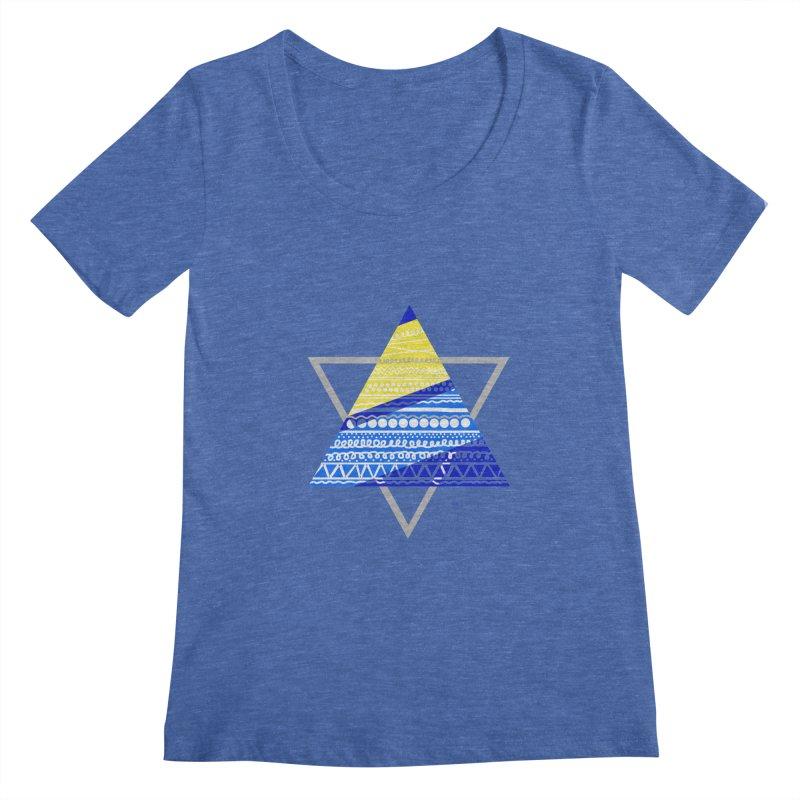 Pyramid gray Women's Scoopneck by DERG's Artist Shop