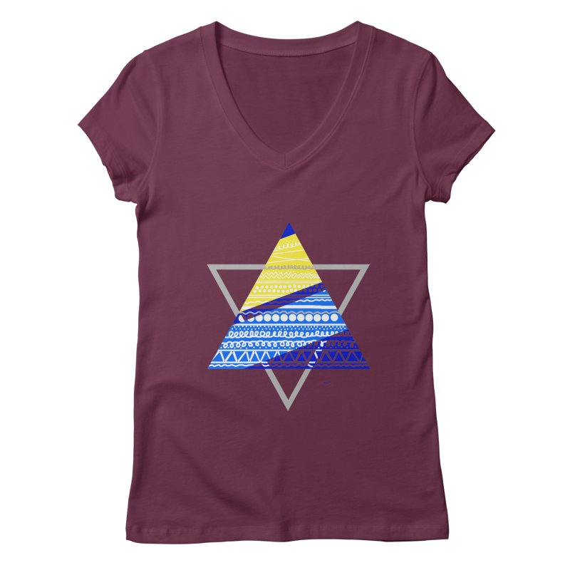 Pyramid gray Women's V-Neck by DERG's Artist Shop
