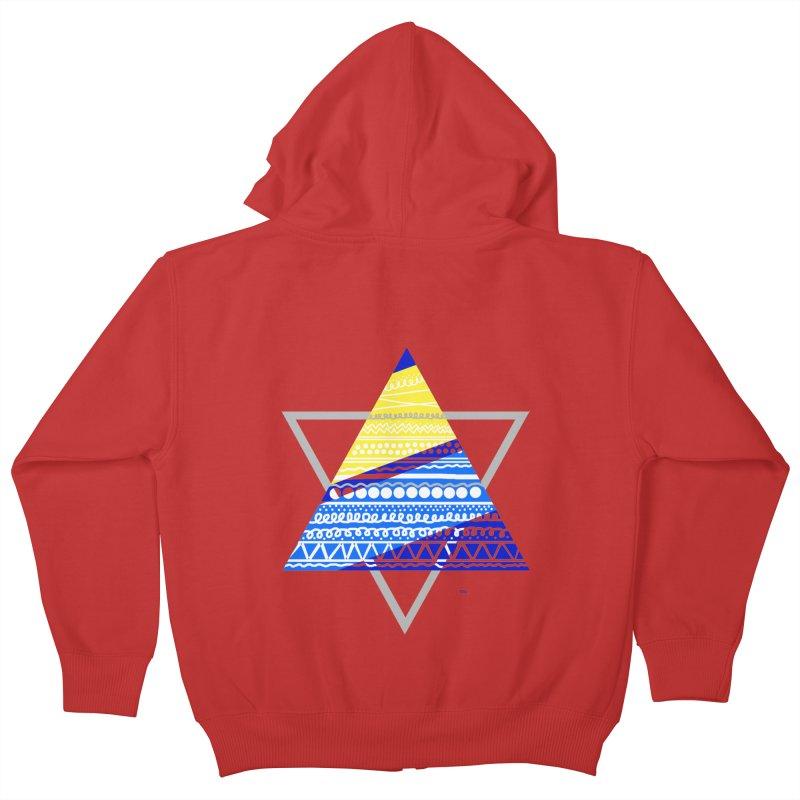 Pyramid gray Kids Zip-Up Hoody by DERG's Artist Shop