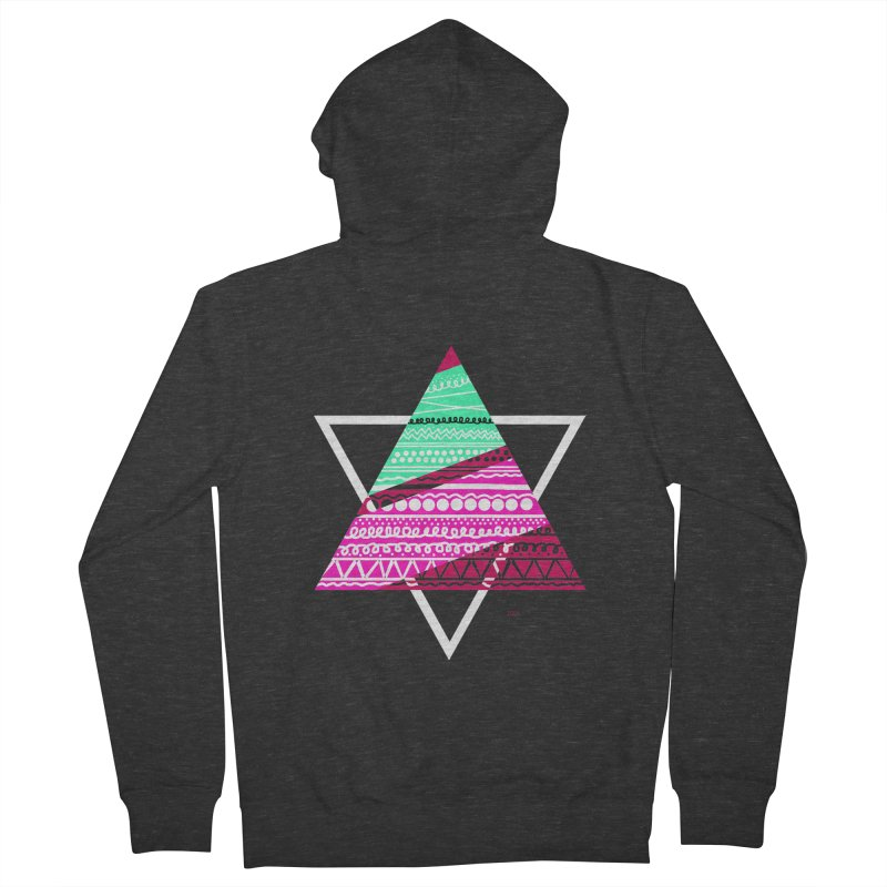 Pyramid pink Men's French Terry Zip-Up Hoody by DERG's Artist Shop