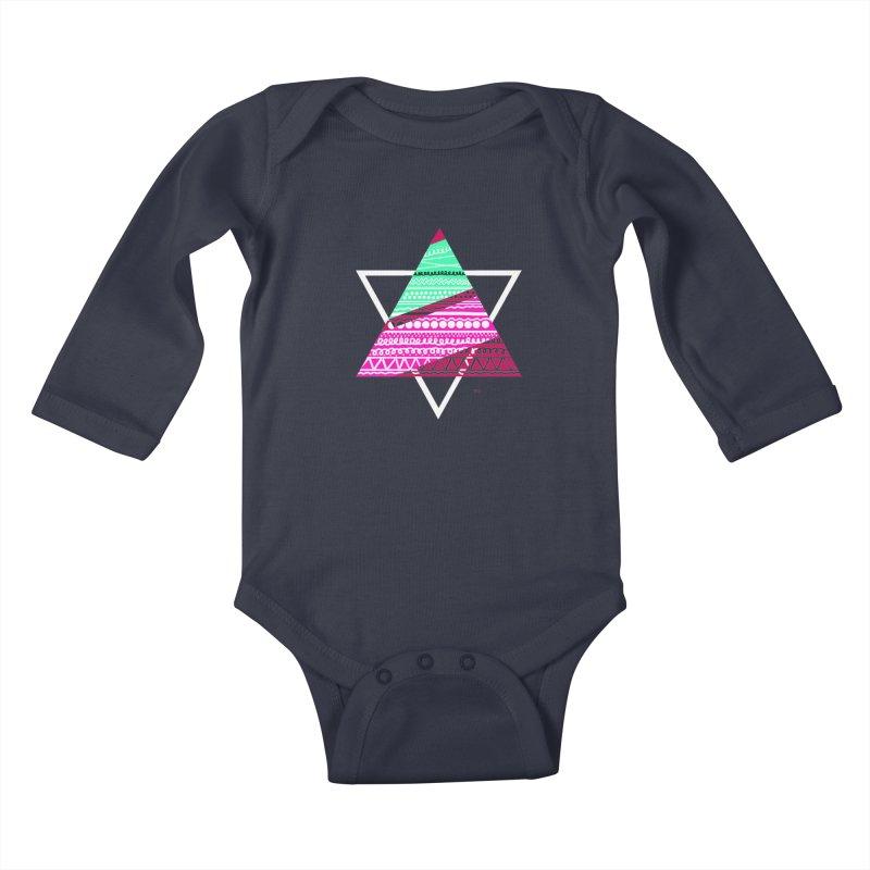 Pyramid pink Kids Baby Longsleeve Bodysuit by DERG's Artist Shop