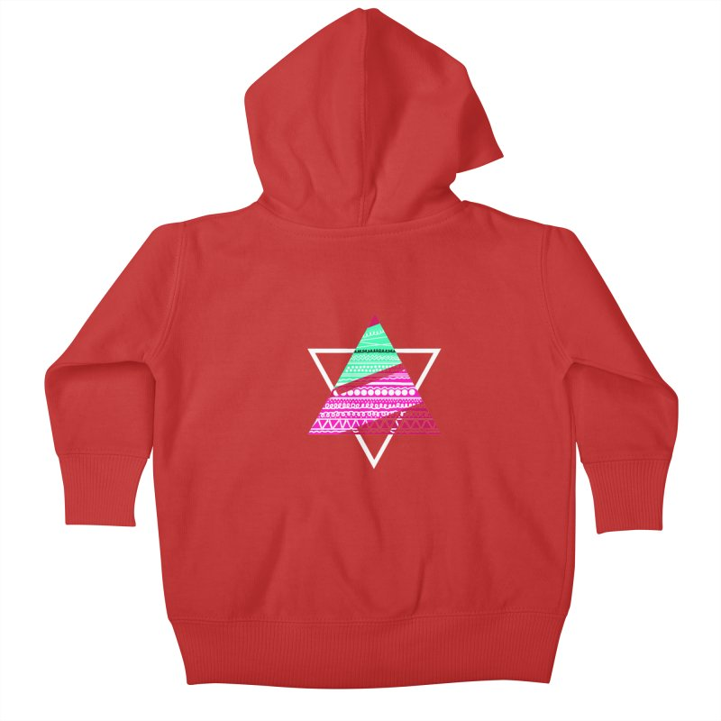 Pyramid pink Kids Baby Zip-Up Hoody by DERG's Artist Shop