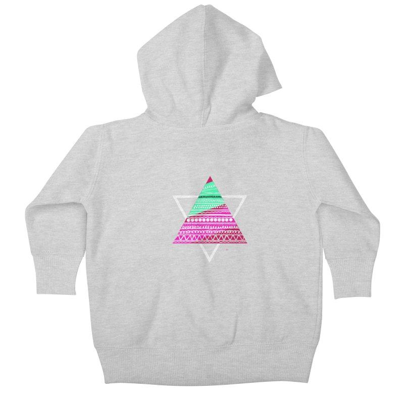 Pyramid pink Kids Baby Zip-Up Hoody by DERG's Artist Shop