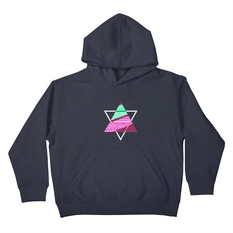 Pyramid pink Kids Pullover Hoody by DERG's Artist Shop