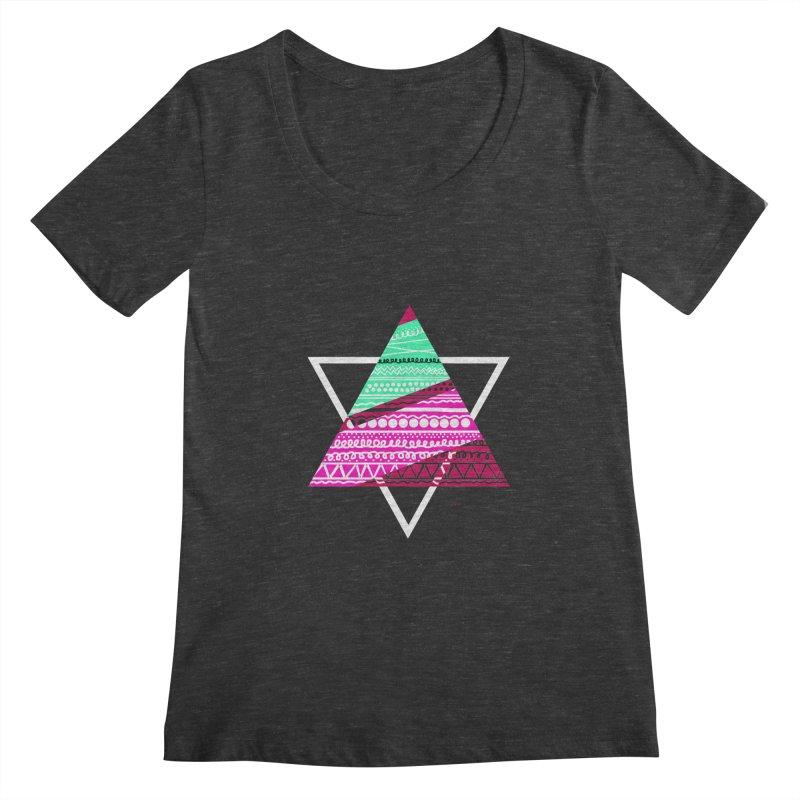 Pyramid pink Women's Scoopneck by DERG's Artist Shop