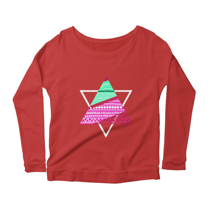 Pyramid pink Women's Longsleeve Scoopneck  by DERG's Artist Shop