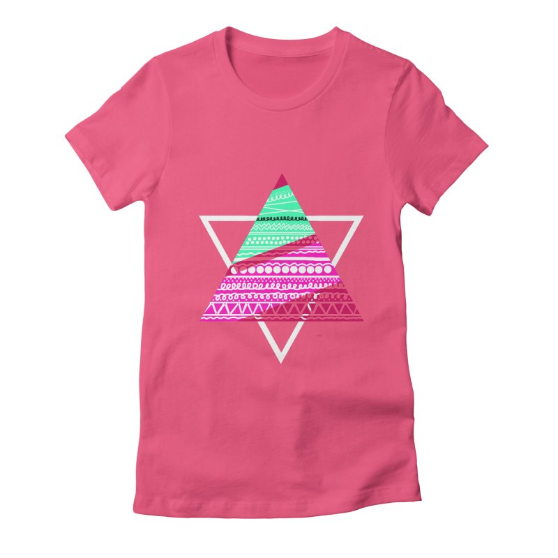 Pyramid pink Women's Fitted T-Shirt by DERG's Artist Shop