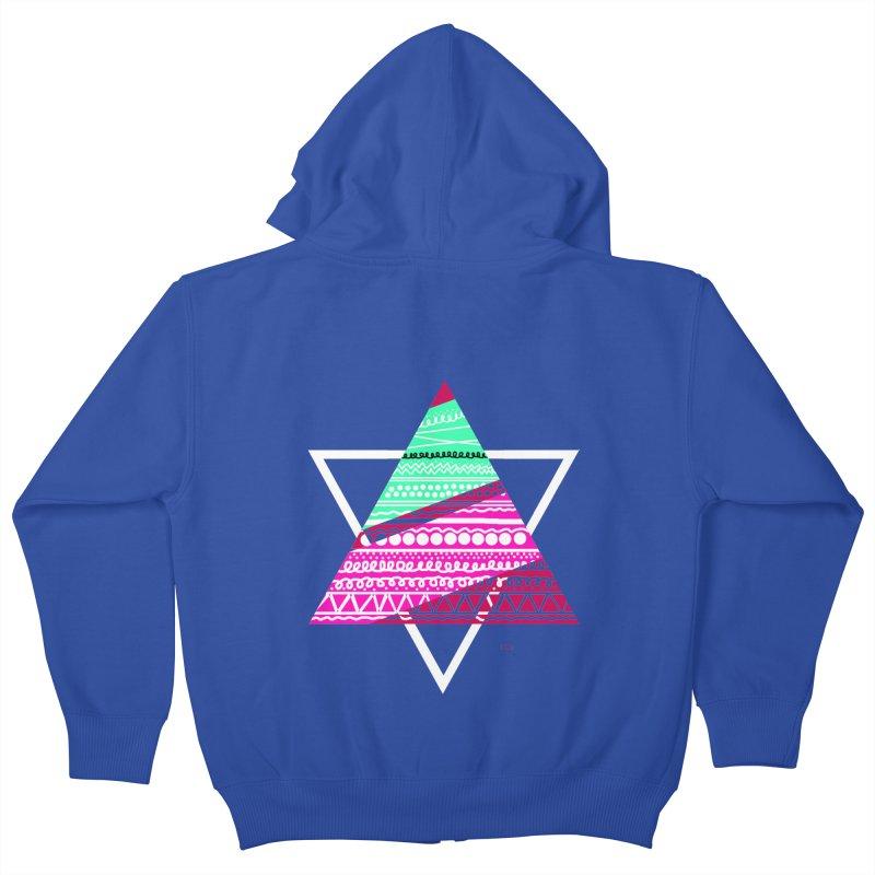 Pyramid pink Kids Zip-Up Hoody by DERG's Artist Shop