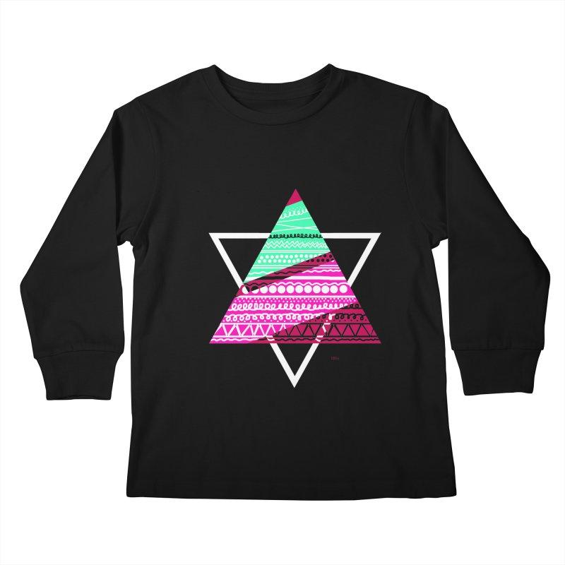 Pyramid pink Kids Longsleeve T-Shirt by DERG's Artist Shop