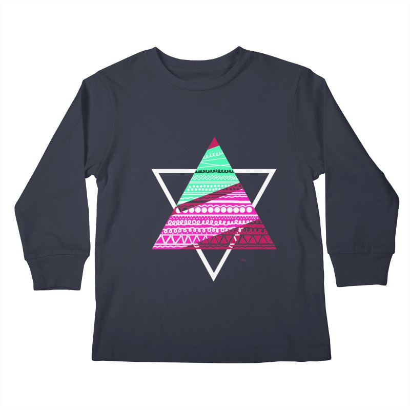 Pyramid pink Kids Longsleeve T-Shirt by DERG's Artist Shop