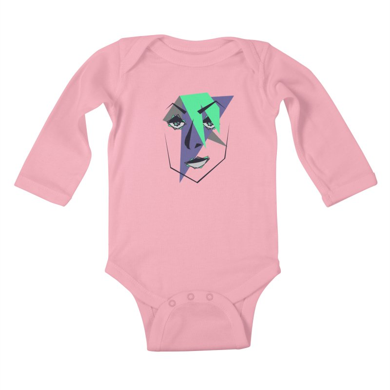 Face me Kids Baby Longsleeve Bodysuit by DERG's Artist Shop