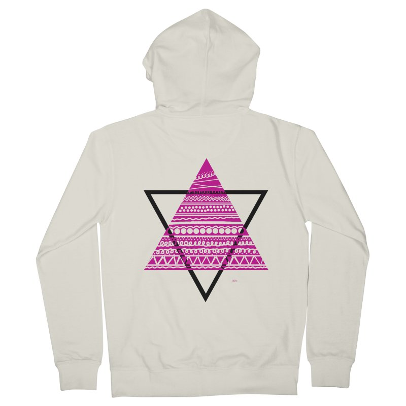 Triangle purple Men's French Terry Zip-Up Hoody by DERG's Artist Shop